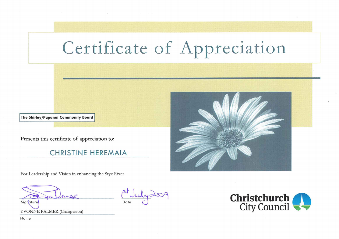Certificate of Appreciation for Christine Heremaia