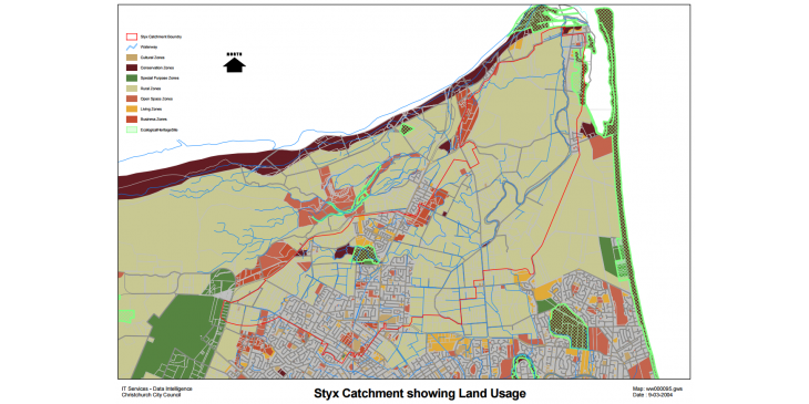 Styx Catchment showing land usage
