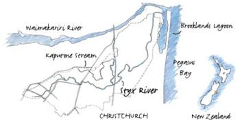 Line Drawing of the Styx River Catchment in Canterbury, New Zealand